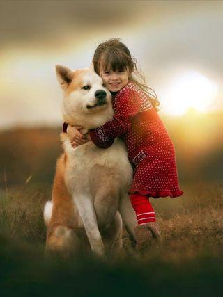 Обои на телефон дети, щенки, фон, собаки, приятные, милые, девушки, cute girl and dog