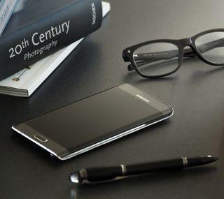 Обои на телефон телефон, ручка, очки, книга, s6, accessories
