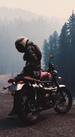 Обои на телефон поездка, мотоциклы, кафе, гонщик, всадник, байкер, motor, duke