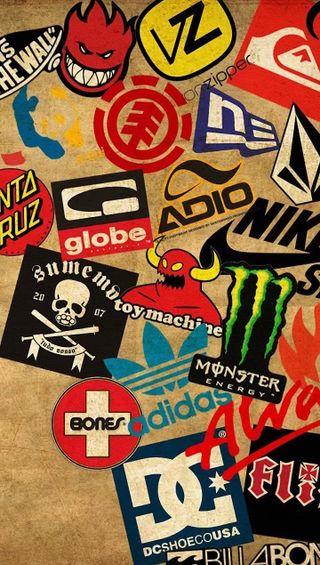 Обои на телефон стикеры, найк, глобус, nike, monster, dc, adio