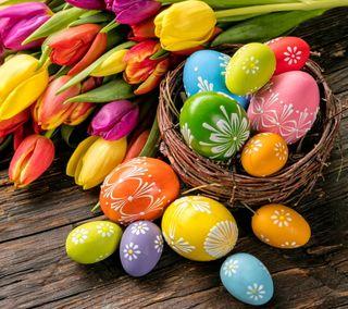 Обои на телефон яйца, тюльпаны, пасхальные, красочные, весна