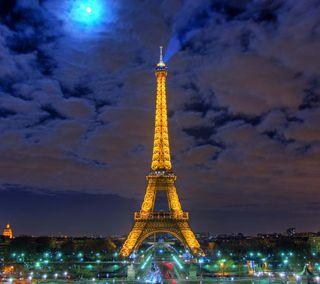 Обои на телефон эйфелева башня, башня, самсунг, ночь, галактика, samsung galaxy s4, eiffel tower night, 2160x1920