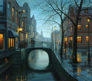 Обои на телефон мокрые, прекрасные, пейзаж, мост, здания, дождь, вода, вечер, canal, beautiful evening, beautfiful