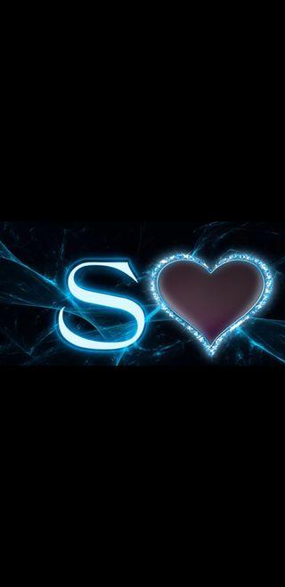 Обои на телефон буквы, черные, синие, сердце, молния, s letter