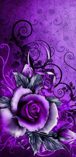 Обои на телефон винтаж, цветы, фиолетовые, розы, дизайн