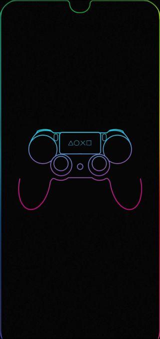 Обои на телефон пс4, цветные, неоновые, выемка, ps4, joystick, gota