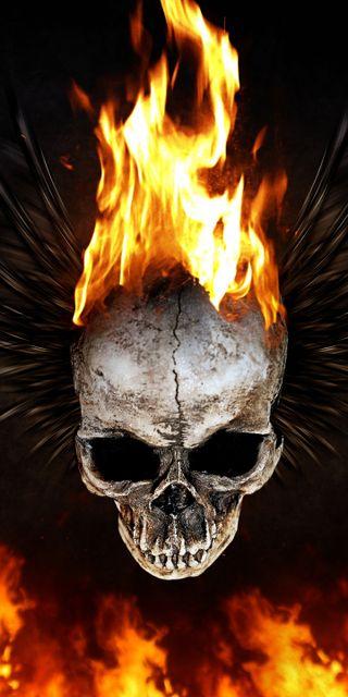 Обои на телефон отец, череп, flaming skull, beth