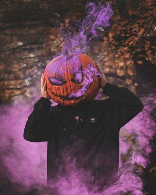 Обои на телефон тыква, фиолетовые, ужасы, крутые, дым, pumpkin purple, pumkin, kabak, havali, hallowen, duman