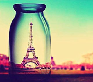 Обои на телефон бутылка, эйфелева башня, вид, башня