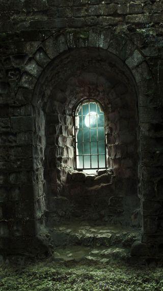 Обои на телефон стена, камни, windows