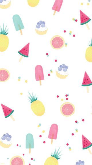 Обои на телефон каваи, цветные, фрукты, пастельные, милые, весна