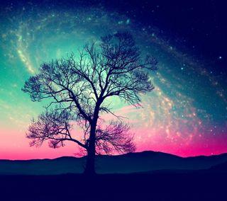 Обои на телефон galaxy, абстрактные, галактика, ночь, дерево, поле