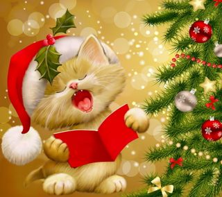 Обои на телефон песня, счастливое, рождество, милые, котята