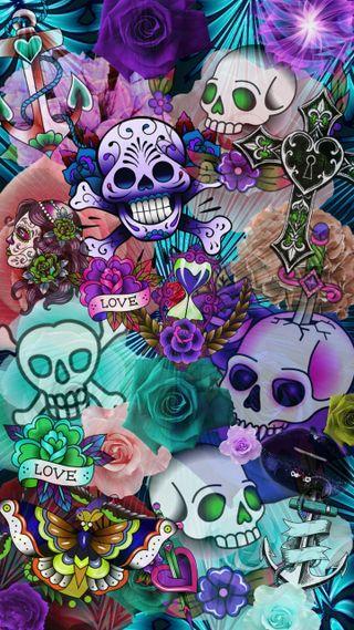 Обои на телефон сахар, череп, неоновые, мечи, любовь, красочные, губы, puzzled, love