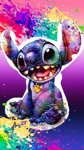 Обои на телефон стич, брызги, цветные, лило, stitch splash color