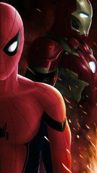 Обои на телефон паук, мстители, железный, гражданская