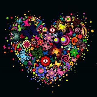 Обои на телефон цветочные, цветы, сердце, красочные, дизайн, векторные, арт, абстрактные, art