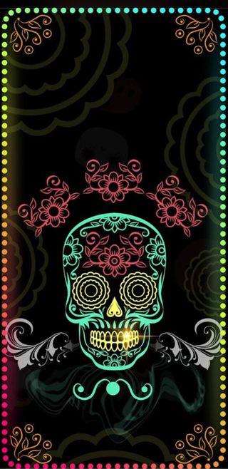 Обои на телефон яркие, череп, радуга, неоновые, красочные, neonskull