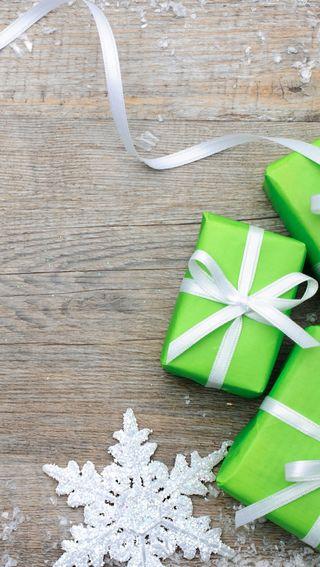 Обои на телефон снежинки, рождество, подарок, подарки