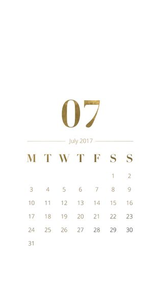 Обои на телефон календарь, чистые, простые, месяц, классные, июль, золотые, дизайн, белые, zedgecal, classy golden july