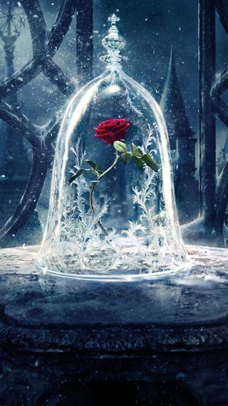 Обои на телефон фантазия, цветы, снег, красота, зверь, дисней, арт, disney, art