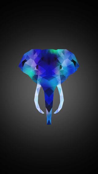 Обои на телефон треугольники, слон, синие, поли, зеленые, животные, polygonal, poly elephant