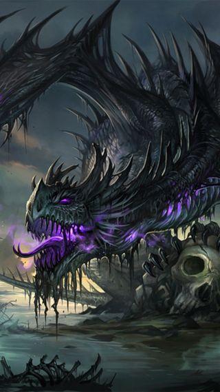 Обои на телефон темные, дракон, dragon