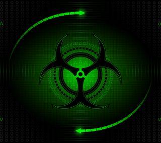 Обои на телефон радиоактивный, зеленые, дизайн, логотипы, биологическая опасность, biohazard
