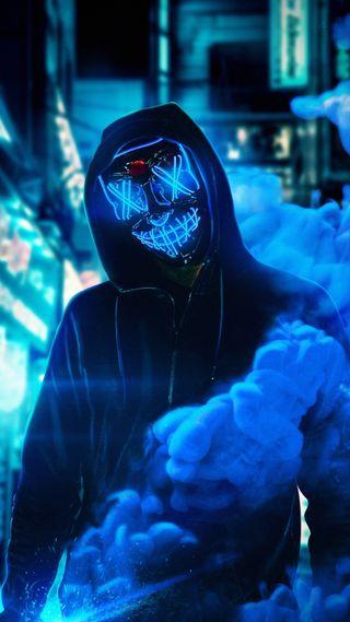Обои на телефон парень, синие, неоновые, маска, neon mask blue, bluee