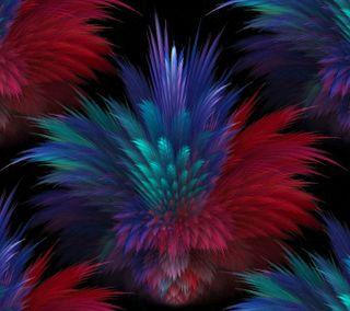 Обои на телефон перья, синие, абстрактные