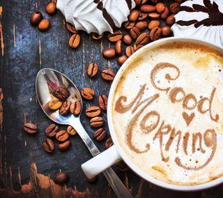 Обои на телефон чашка, утро, кофе, зерна, cup