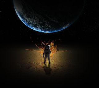Обои на телефон эпичные, луна, крутые, космос, космонавт, земля, ель, взрыв
