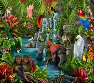 Обои на телефон джунгли, тропические, птицы, картина, placid waters