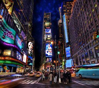 Обои на телефон квадратные, ночь, новый, йорк, здания, город, время, ny