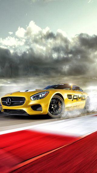 Обои на телефон двигатель, скорость, мерседес, машины, колея, желтые, амг, motorsport, mercedes, amg