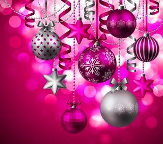 Обои на телефон pink decor, абстрактные, розовые, рождество, фон, счастливое, украшение, шары, декор