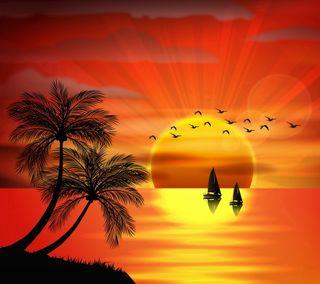Обои на телефон рай, тропические, силуэт, прекрасные, пальмы, остров, море, закат