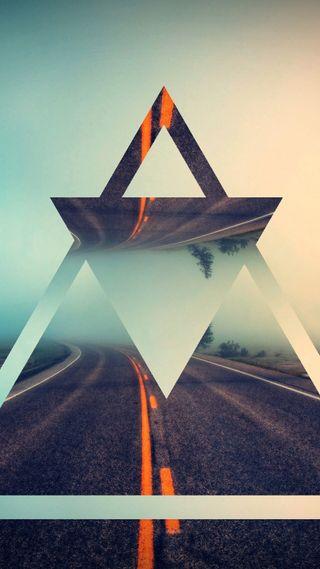 Обои на телефон хайвей, треугольник, дорога, арт, s7, art