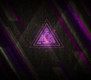 Обои на телефон треугольник, фиолетовые, линии