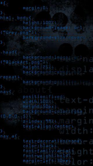 Обои на телефон код, черные, синие, css, codeblue