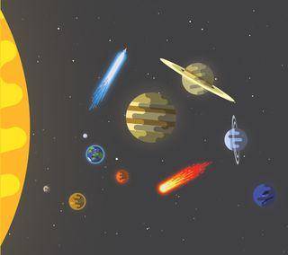 Обои на телефон солнечный, солнце, система, планеты, минималистичные, космос, звезда, sci-fi