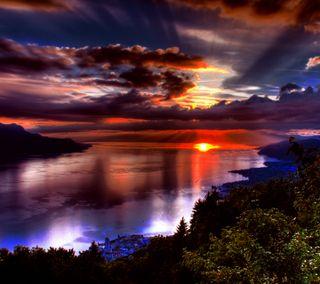Обои на телефон солнце, океан, приятные, природа, прекрасные, пейзаж, озеро, новый, закат