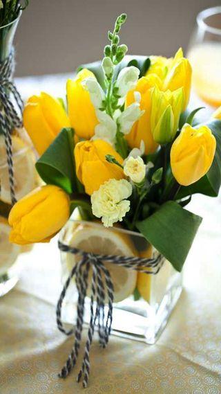 Обои на телефон тюльпаны, желтые