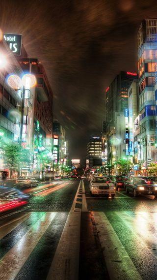 Обои на телефон токио, японские, улица, свет, машины, крутые, город, city street light