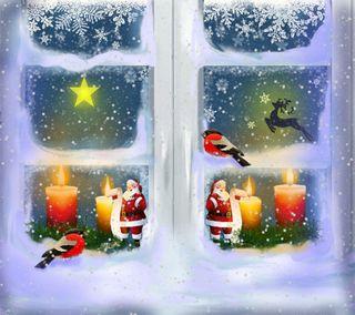 Обои на телефон окно, рождество, праздник, зима, winter window 9