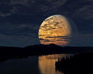 Обои на телефон темные, прекрасные, небо, ночь, пейзаж, космос, звезды, луна, озеро, река