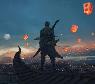Обои на телефон самурай, рыцарь, одиночество