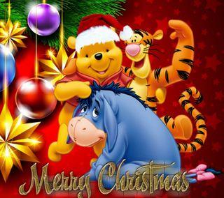 Обои на телефон счастливое, дисней, рождество, пух, винни, winnie pooh