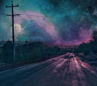 Обои на телефон ночь, небо, дорога