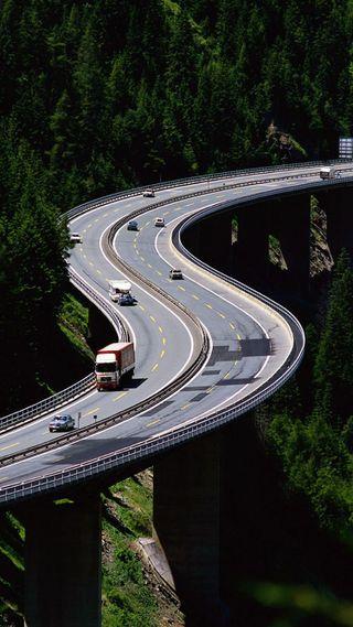 Обои на телефон трафик, мост, машины